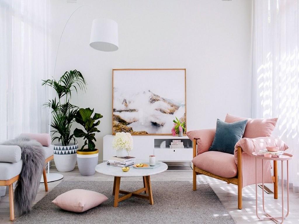 اتاق نشیمن مدرن با مبل صورتی و گلدان طبیعی