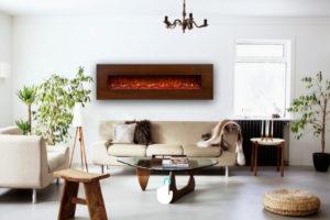 شومینه برقی فریم دار چوبی اچ بی در دکوراسیون داخلی منزل