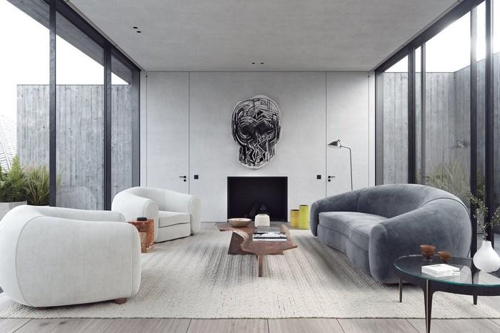 اتاق نشیمن مدرن با دیزاین مبل طوسی و سفید