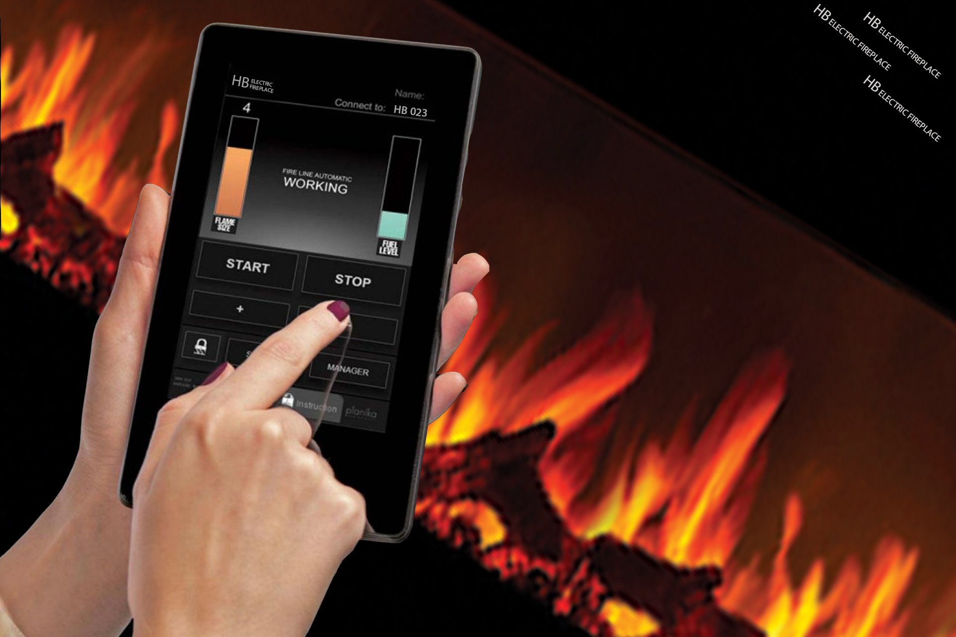 شومینه هوشمند اچ بی | شومینه برقی هوشمند | کنترل شومینه با تلفن همراه | شومینه اچ بی | شومینه | شومینه ممی پور