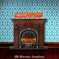 شومینه   شومینه اچ بی   شومینه برقی کلاسیک   شومینه برقی با فریم چوبی و چدن   شومینه ممی پور   اچ بی 018   HB-018 HB fireplace electric fireplace william fireplace