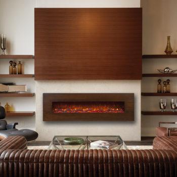 شومینه برقی با قاب چوبی در دکوراسیون مدرن