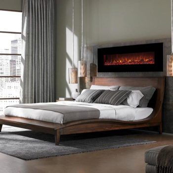 دیزاین اتاق خواب لوکس با شومینه برقی