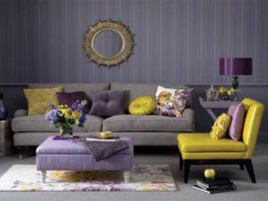 اتاق نشمین با دیزاین بنفش و زرد
