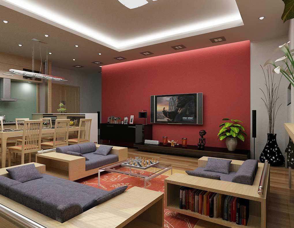 اتاق نشیمن قرمز با دکور مدرن